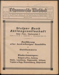 Ostpommersche Wirtschaft, Oktober 1928, Nummer 4