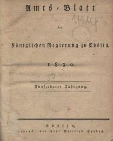 Amts-Blatt der Königlichen Regierung zu Cöslin 1830