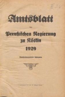 Amtsblatt der Preuβischen Regierung zu Köslin 1929