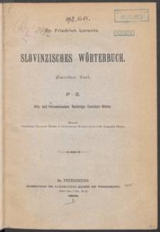 Slovinzisches Wörterbuch: zweiter Teil: P-Z : Orts- und Personennamen. Nachträge, Unsichere Wörter