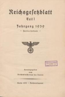 Reichsgesetzblatt, Teil I