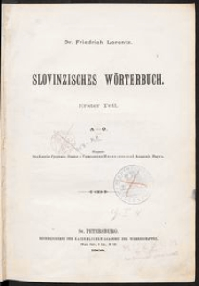 Slovinzisches Wörterbuch: erster Teil: A-O