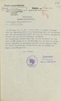 Pismo nadburmistrza Słupska do prezydenta rejencji z 1.05.1931 r.