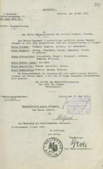 Pismo Sztabu II Okręgu Wojskowego w Szczecinie do prezydenta rejencji koszalińskiej z 18.05.1931 r.