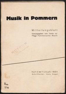 Musik in Pommern: Mitteilungsblatt [...]. Heft 3, Herbst 1934