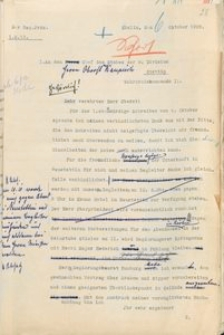Pismo prezydenta rejencji koszalińskiej do szefa sztabu II Okręgu Wojskowego w Szczecinie z 6.10.1928 r.