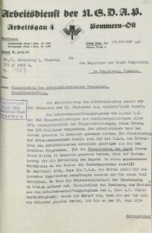 Pismo Arbeitsdienst Okręg nr 4 przy NSDAP w Słupsku do magistratu Czaplinka z 14.10.1933 r.