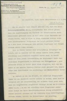 Pismo Deutscher Luftsportverband w Koszalinie do magistratu w Koszalinie z 21.08.1933