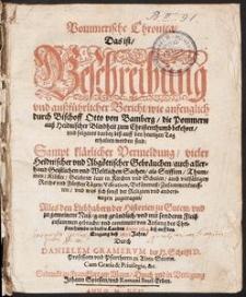 Pommersche Chronica : Thüringische Chronica oder Geschichtbuch