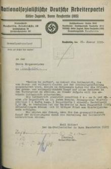 Pismo Hitlerjugend, Chorągiew 193 przy NSDAP w Szczecinku do burmistrza Czaplinka z 26 I 1939 r.