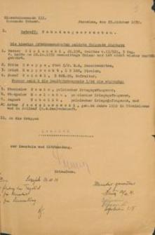 Wykaz osób poszukiwanych przesłany prezydentowi rejencji koszalińskiej z 25.10.1939 r.