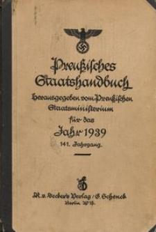 Preußisches Staatshandbuch. Herausgegeben vom Preußischen Staatsministerium für das Jahr 1939