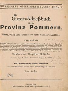 Gϋter-Adreβbuch fϋr die Provinz Pommern