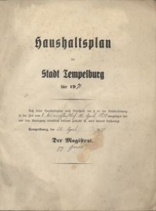 Haushaltsplan der Stadt Tempelburg für 1931