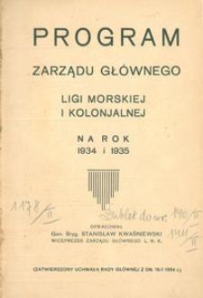 Program Zarządu Głównego Ligi Morskiej i Kolonjalnej na rok 1934 i 1935