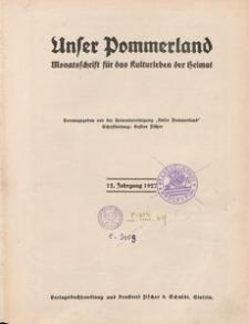 Unser Pommerland : Monatsschrift für das Kulturleben der Heimat : 12. Jahrgang 1927