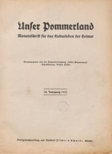 Unser Pommerland : Monatsschrift für das Kulturleben der Heimat : 18. Jahrgang 1933
