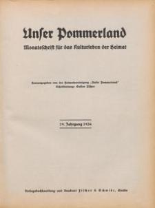 Unser Pommerland : Monatsschrift für das Kulturleben der Heimat : 19. Jahrgang 1934