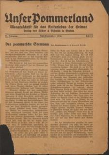 Unser Pommerland : Monatsschrift für das Kulturleben der Heimat : 21. Jahrgang 1936, Heft 5/6