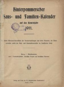 Hinterpommerscher Haus- und Familienkalender auf das Gemeinjahr 1911