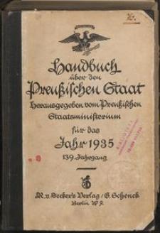 Handbuch über den Preußischen Staat herausgegeben vom Preußischen Staatsministerium für das Jahr 1935