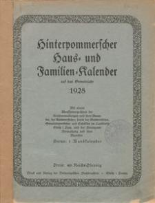 Hinterpommerscher Haus- und Familienkalender auf das Gemeinjahr 1928